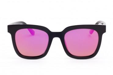 Akiniai nuo saulės su veidrodiniais ryškiai rožiniais stiklai