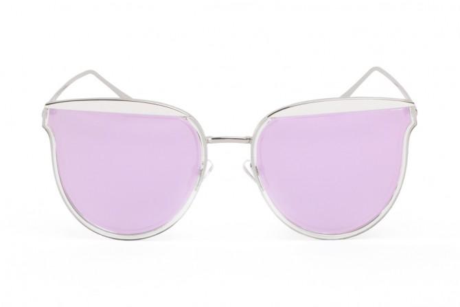 Sidabriniai saulės akiniai violetiniais stiklais