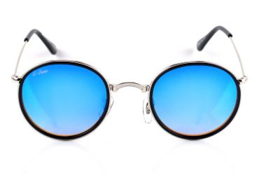 Apvalūs mėlyni akiniai