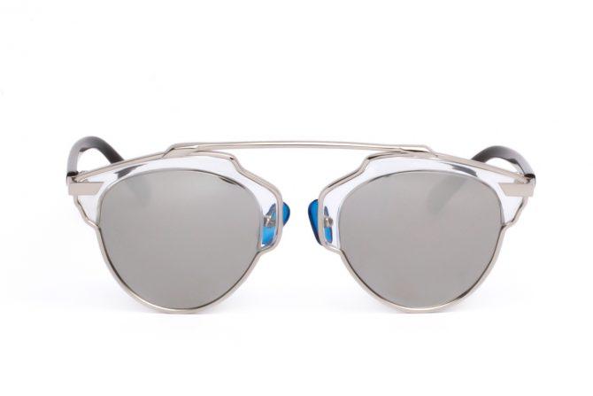 Poliarizuoti sidabrinniai clubmaster saulės akiniai