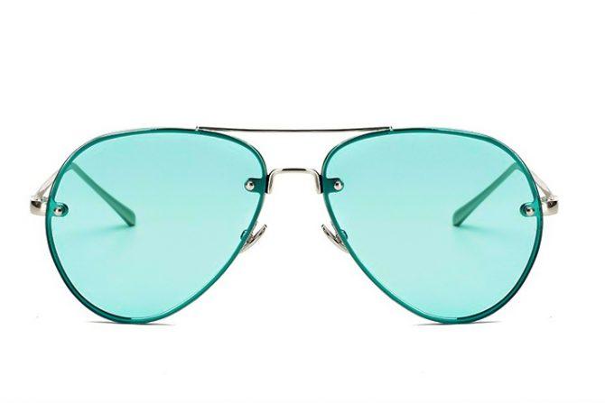 Žali skaidrūs aviator akiniai