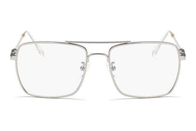 Sidabriniai stačiakampiai dideli akiniai