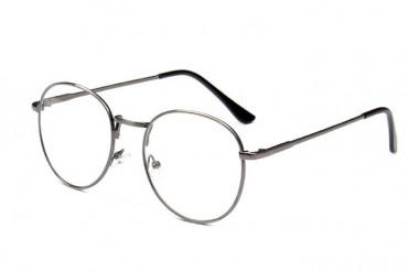 Apvalūs skaidrūs pilki akiniai