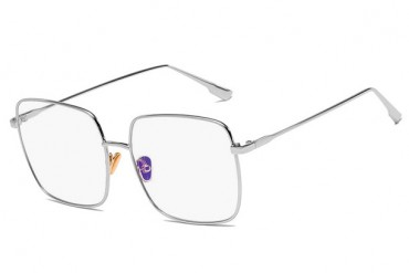 Kvadratiniai sidabriniai skaidrūs akiniai