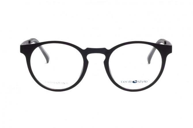 Juodas akinių rėmelis ir lęšiai nuo saulės